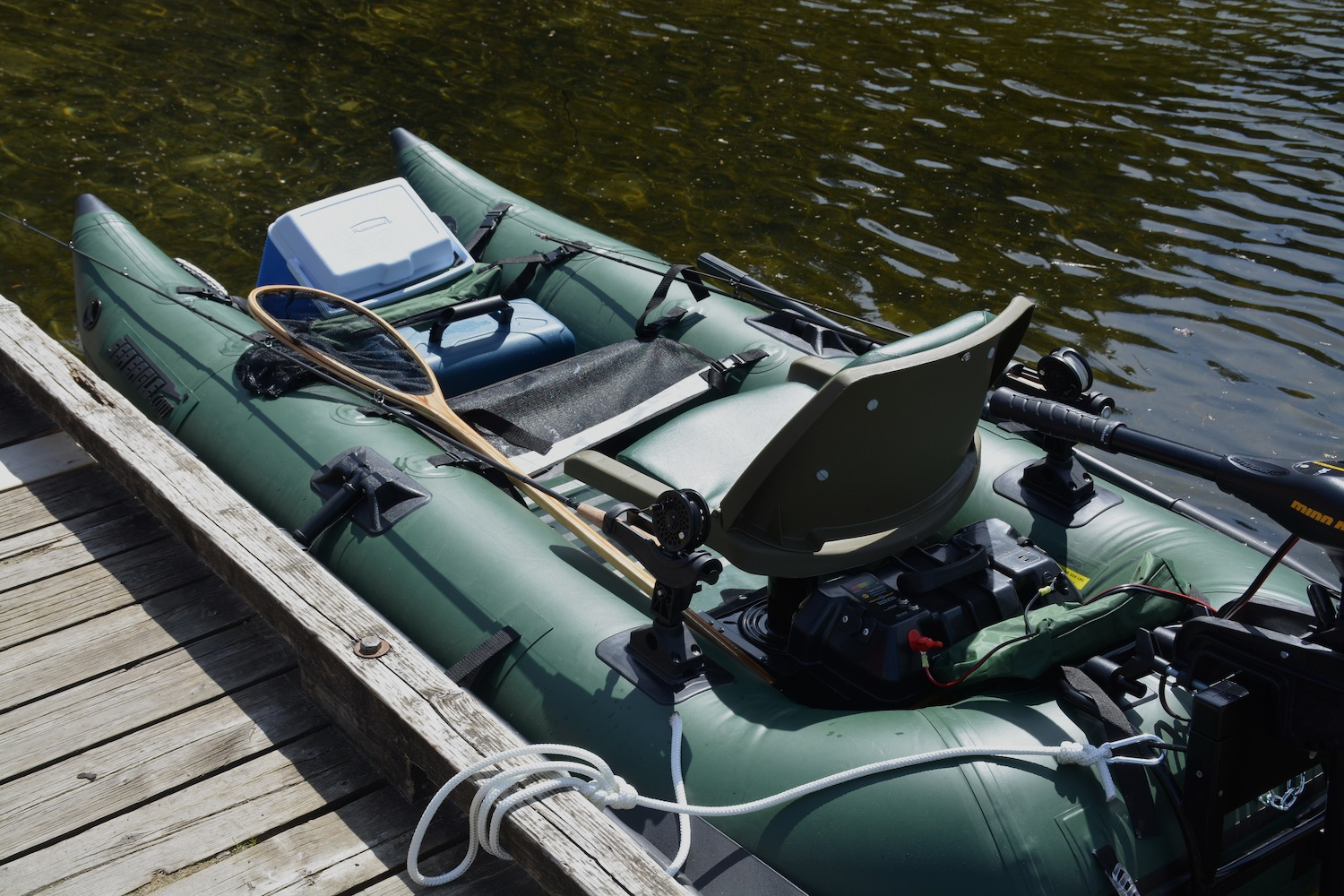 Sea Eagle frameless pontoon boat with motor